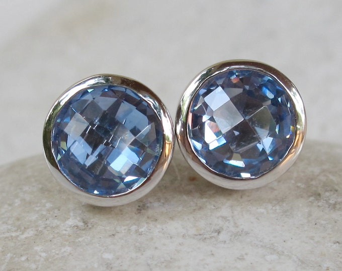 Swiss Blue Topaz Silver Stud Earring- Round Facet Blue Topaz Earring- Something Blue Earring-December Birthstone Earring- Bridesmaid Earring