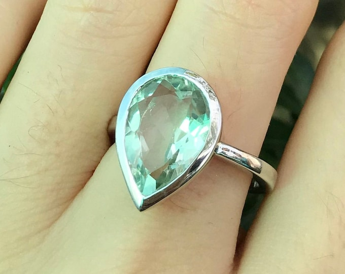 Pear Green Amethyst Engagement Ring- Green Large Gemstone Bold Ring- Amethyst Teardrop Silver Solitaire Ring- February Birthstone Ring