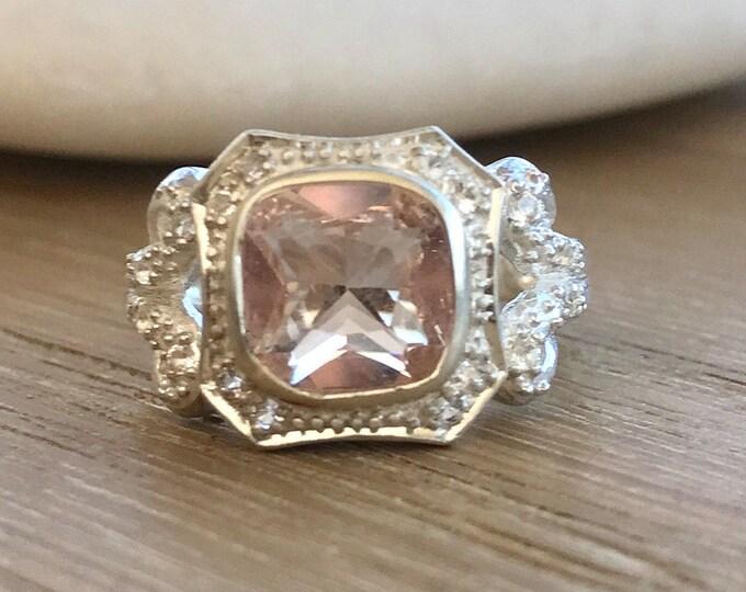 Cushion Morganite Engagement Ring- Morganite Promise Ring- Halo Morganite Art Deco Ring- Pink Gemstone Engagement Ring- Swirl Deco Ring