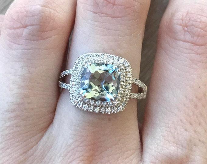 1.64ct Cushion Aquamarine Engagement White Gold Ring- Aquamarine Halo Diamond Promise Ring- Split Shank Genuine Aquamarine Anniversary Ring