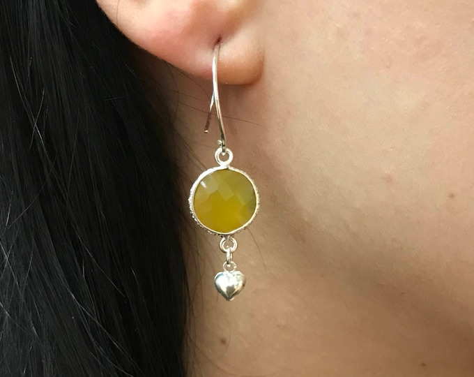 Yellow Drop Heart Earring- Yellow Silver Earring- Heart Dangle Earring- Unique Small Earring- Everyday Accent Earring
