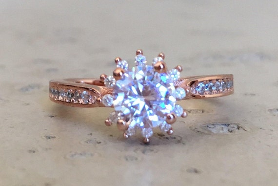 a6636605987a Rose Gold Promise Ring Flower Engagement Ring Halo Bridal