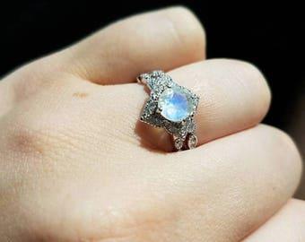 Moonstone Bridal Ring Set- Rainbow Moonstone Engagement Ring- Halo Moonstone Promise Ring- Moonstone Anniversary Two Ring