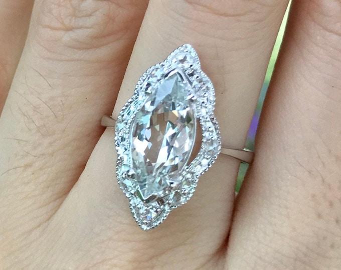 2.78ct Genuine White Topaz Engagement Ring- Vintage Topaz Marquise Promise White Gold Ring- Navette Rose Cut Diamond Anniversary Ring