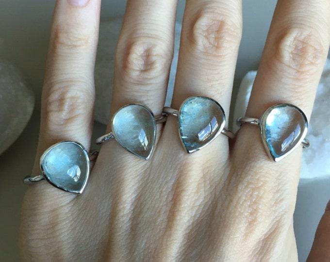 Aquamarine Teardrop Cabochon Silver Ring- Genuine Aquamarine Pear Solitaire Ring-Healing Blue Stone Bezel Minimal Ring-March Birthstone Ring