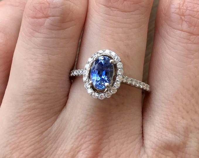 1.13ct Certified Cornflower Blue Sapphire Oval Engagement Ring- Genuine Natural Sapphire Diamond Halo White Gold Promise Ring