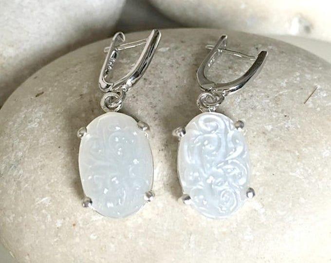 Oval White Moonstone Bridal Earring- Wedding Stone Earring- June Birthstone Earring- Engagement Moonstone Earring- Unique Classic Earring