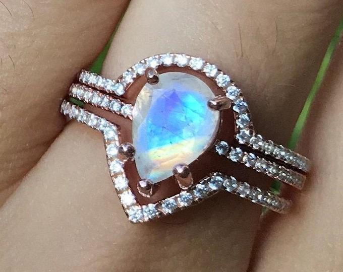 Teardrop Moonstone Engagement Ring Set- Halo Moonstone Bridal Ring Set- Pear Moonstone 3 Piece Ring Set- Bohemian Rainbow Ring