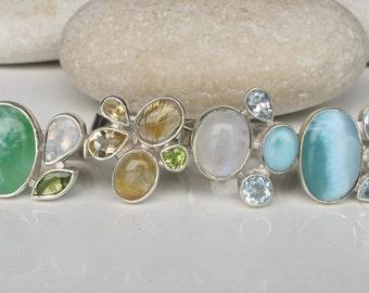 Peridot Ring- Rutile Quartz Ring- Peridot Ring- Topaz Ring- Moonstone Ring- Gemstone Ring- Birthstone Ring- Blue Topaz Ring- Birthstone Ring
