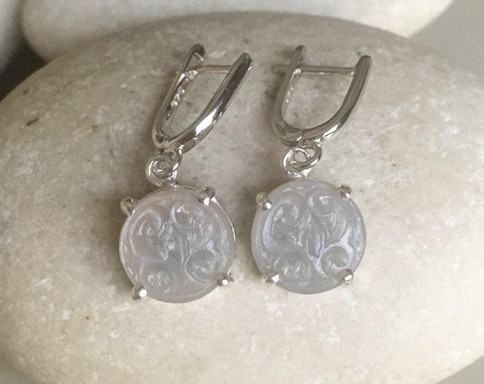 Gray Moonstone Bridal Earring- Wedding Engagement Earring- June Birthstone Earring- Engagement Moonstone Earring- Unique Classic Earring