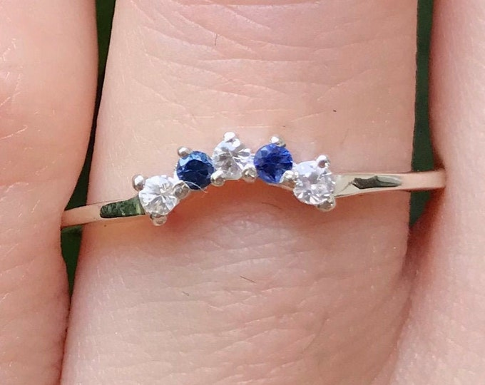 Natural Genuine Sapphire Curved Wedding Band- Nesting Contour Chevron Stack Ring- White and Blue Sapphire Band