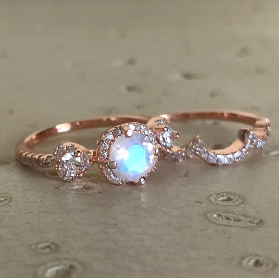 Halo Round Moonstone Promise Ring Faceted Moonstone Anniversary Two Ring Moonstone Bridal Ring Set Rainbow Moonstone Engagement Ring