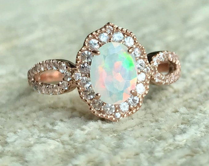 1.50ct Genuine Opal Halo Vintage Ring- Natural Oval Opal Scallop Twist Split Ring- Opal White Sapphire Promise Ring, October Birthstone Ring