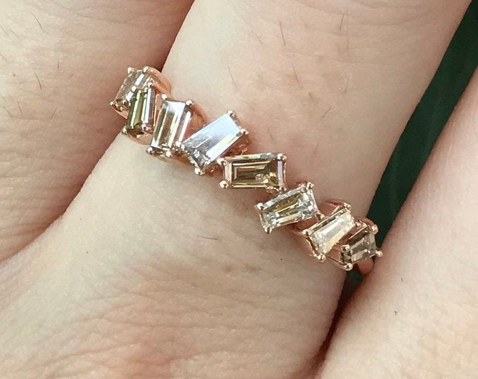 Baguette Champagne Diamond Wedding Band- Vintage Rose Gold Women Wedding Ring- Rose Gold Brown Diamond Stackable Nesting Band for her
