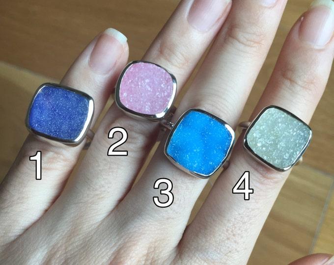 Blue Druzy Ring- Purple Druzy Ring-  Real Druzy Genuine- Boho Raw Gemstone Ring- Handmade Ring Custom Sizing All Sizes Boho Silver Ring