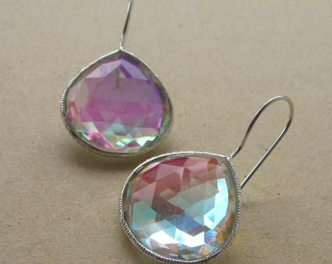 Mystic Topaz Dangle Teardrop Earring- Rainbow Iridescent Drop Earring- Festive Boho Earring- Pear Shape Gypsy Earring- Bright Vivid Earring