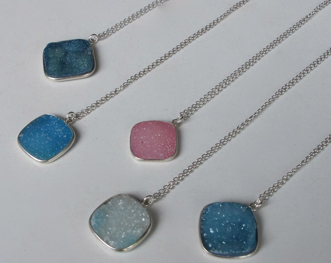 Druzy Necklace Blue Druzy Necklace Layering Boho Everyday Sterling Silver Necklace Druzy Boho Raw Rough Jewelry Simple