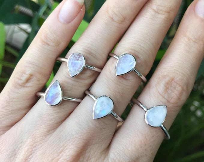 Genuine Rainbow Moonstone Silver Ring- Natural Moonstone Simple Ring- Boho Minimal Iridescent Ring- Teardrop June Birthstone Ring