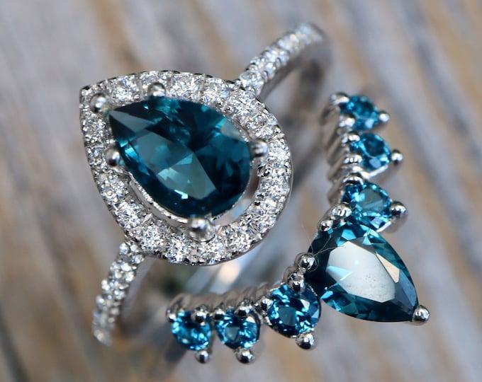 Teardrop London Blue Topaz Bridal Ring Set-Pear Blue Gemstone Engagement 2 Ring Set-Dark Deep Blue Halo with Wedding Band