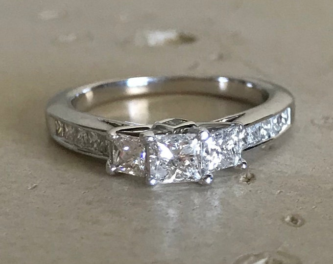 Princess Diamond Engagement White Gold Ring- Three Diamond Anniversary Ring- 14k Cluster Diamond Promise Ring- Art Deco Square Diamond Ring