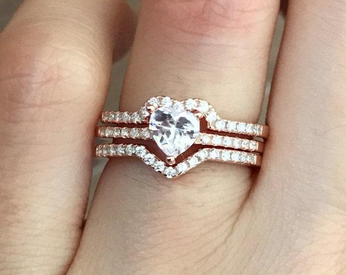 Rose Gold Heart Bridal Ring Set- Heart Promise 3 Ring Set-Heart Engagement Ring Set-Valentine Gift for Her Wife Girlfriend-Anniversary Gift
