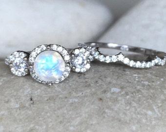 Moonstone Wedding Bridal Set Ring- Rainbow Moonstone Engagement Ring- June Birthstone Ring- Three Stone Moonstone Anniversary Ring
