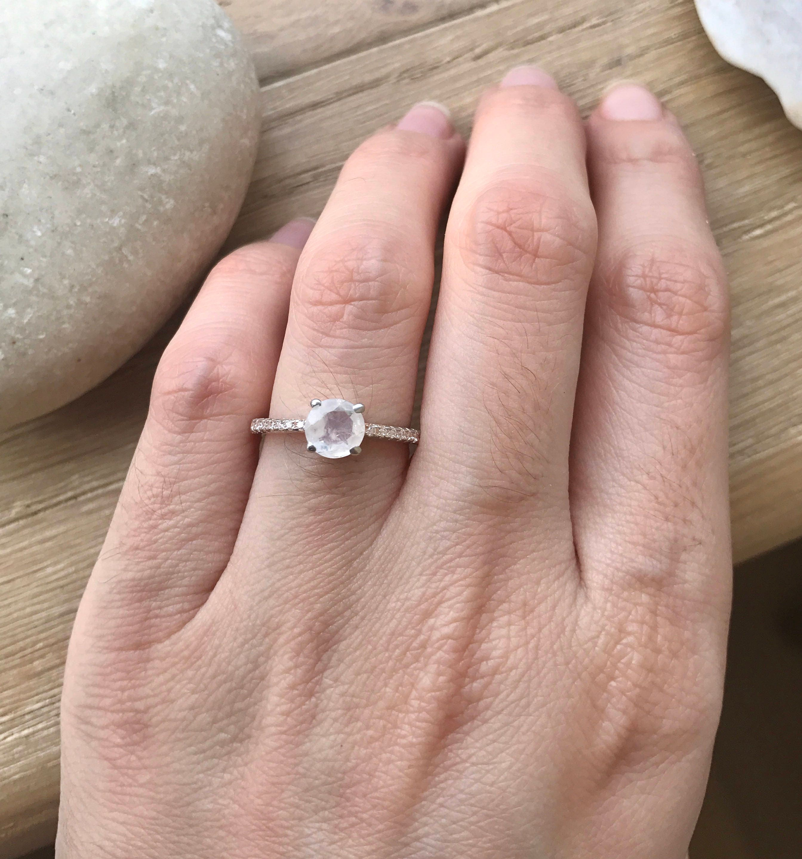 Rose Gold Moonstone Engagement Ring- 4 Prong Promise Ring for her ...