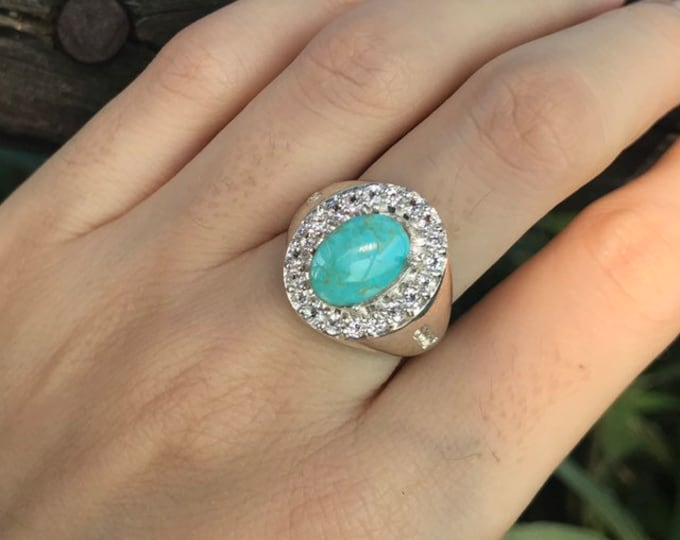 2.30ct Turquoise Statement Genuine Oval Ring- Unisex Sterling Silver Ring-Mens Solitaire Ring- December Birthstone Ring- Turquoise Halo Ring