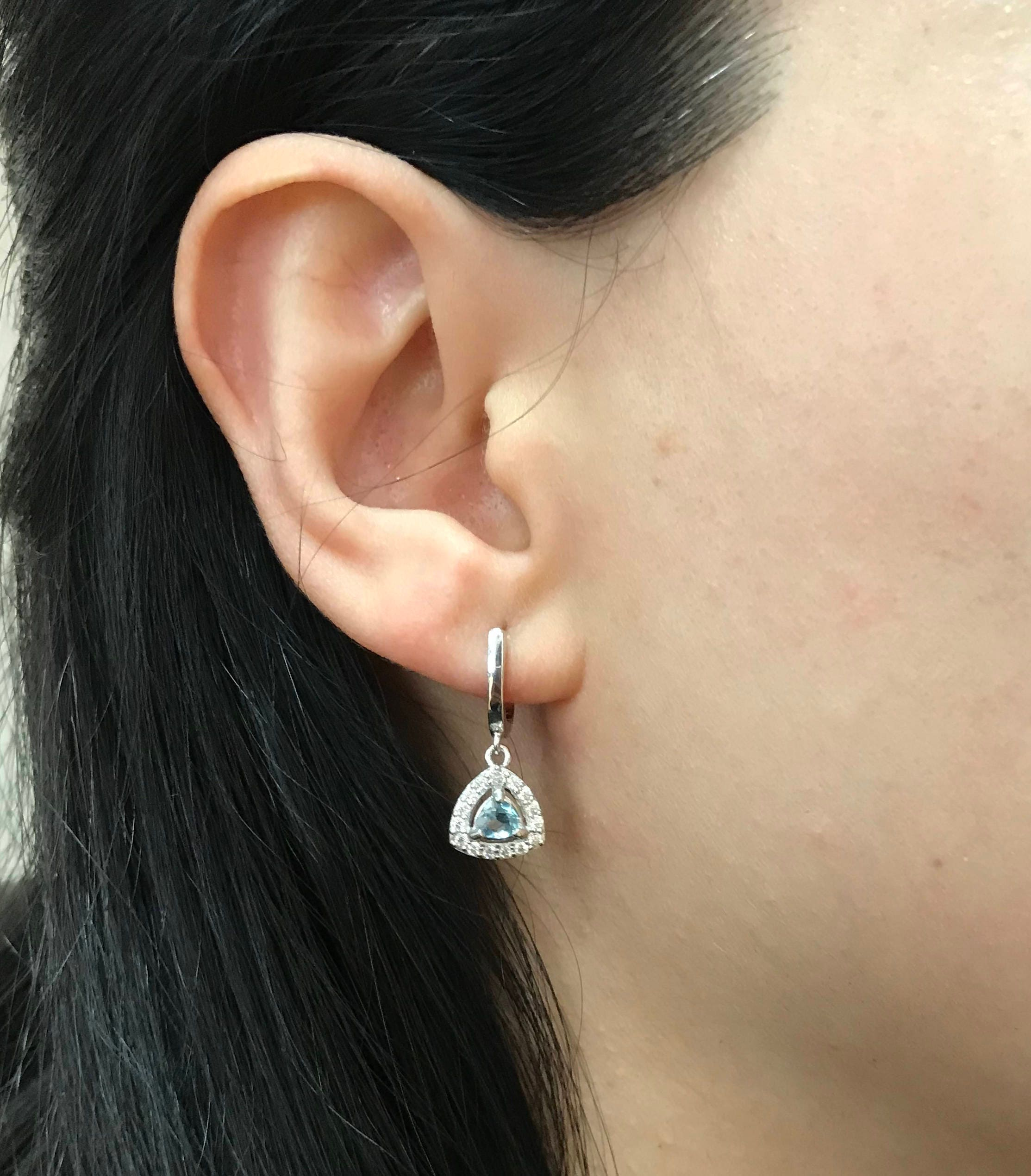 156c9c9e3 Triangle Aquamarine Earring- Sterling Silver Aquamarine Earring- Halo Blue  Dangle Earring- March Birthstone Earring- Classic Drop Earring
