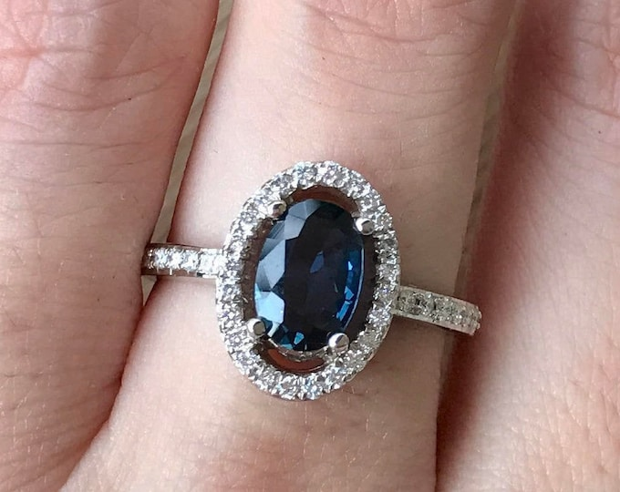 Certified Genuine UnHeated Blue Sapphire Oval Engagement Ring- 1 Carat Halo Sapphire Diamond Ring- Genuine Dark Blue Sapphire Ring