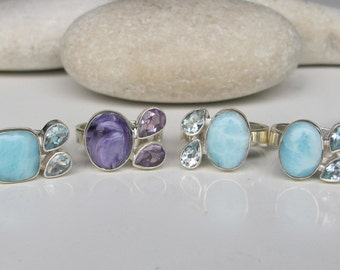 Aquamarine Ring- March Ring- February Ring- Blue Topaz Ring- Gemstone Ring- Amethyst Ring- Adjustable Ring- Rings for Her- Jewelry Gifts