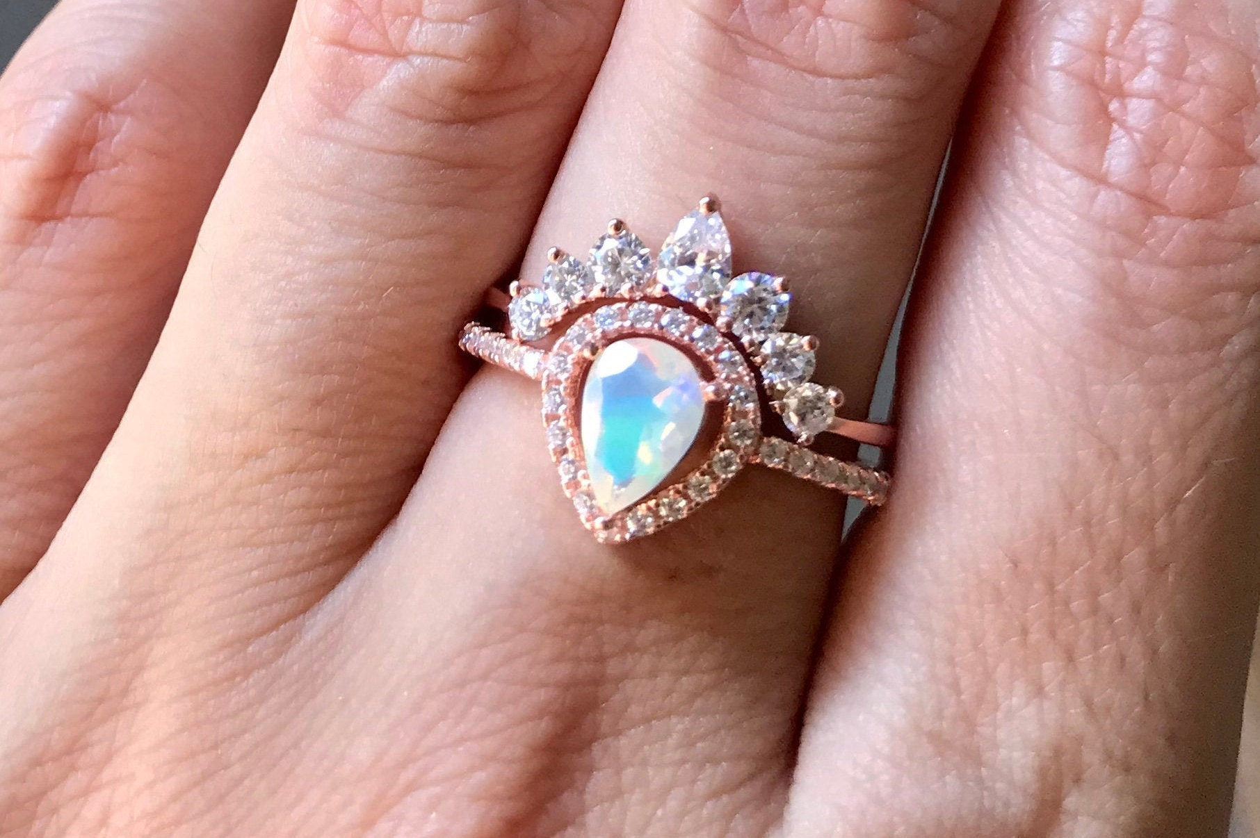 dd733b220 Teardrop Opal Engagement Vintage Ring Set- Opal Halo Deco Promise Ring-  Pear Welo Opal Anniversary Ring- October Birthstone Ring