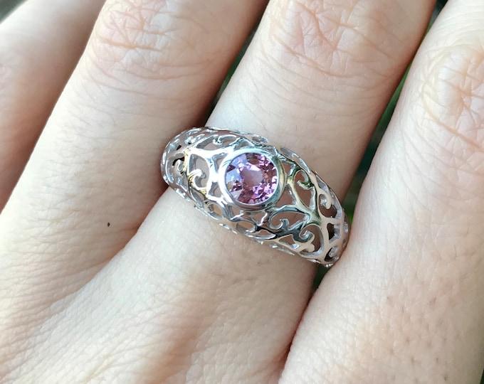 Filigree Genuine Spinel Engagement Ring- Color Gemstone Engagement Ring- Solitaire Round Pink Antique Alternative Edwardian Ring