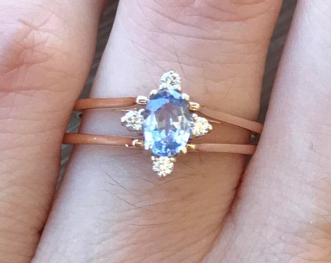Blue Sapphire Ring- Pink Sapphire Engagement Ring- Art Deco Sapphire Ring- Unique Anniversary Ring- September Birthstone Ring- Dainty Ring