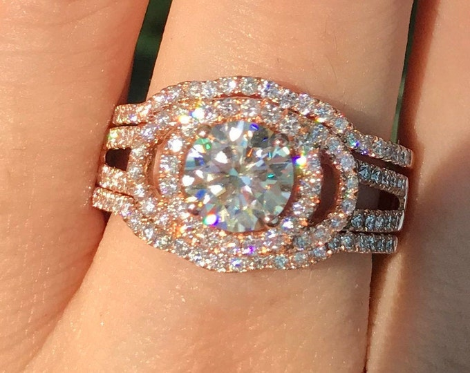 Vintage 1ct Moissanite Halo Split Engagement Ring Set-Round Moissanite 3 Piece Bridal Ring- NonDiamond Engagement Ring 2 Wedding Band
