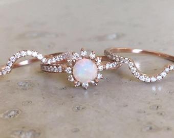 Rose Gold Opal Engagement Ring Set- Genuine Opal Engagement Ring- Halo Floral Engagement Ring- Opal Bridal Wedding Ring-Opal Diamond Ring