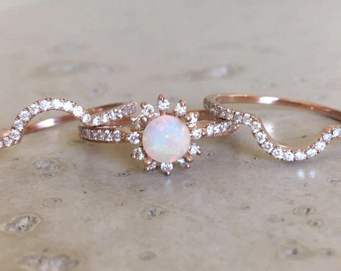 Round Opal Engagement 3 Ring Set- Genuine Opal Bridal Ring Set- Halo Floral Natural Opal Ring with 2 Band- Opal Diamond Ring