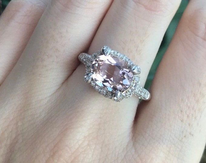 2.14ct Oval Morganite Halo Engagement Ring- East West Solitaire Ring- Morganite Promise Ring for Her- Silver Pink Gemstone Anniversary Ring