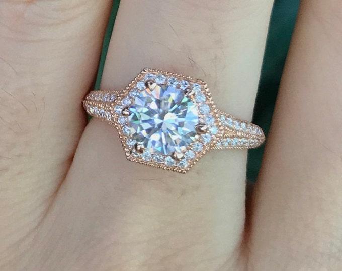 1ct Moissanite Round Halo Engagement Ring- Rose Gold Moissanite Split Shank Ring- Vintage Inspired Colorless Clear Hexagon Engagement Ring