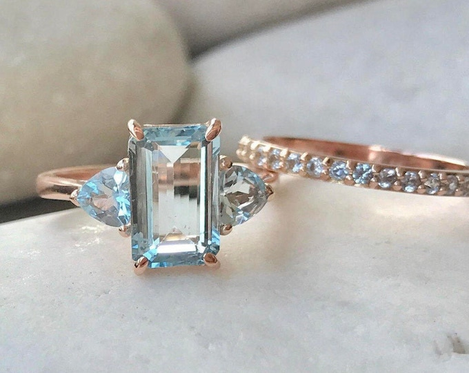 2.20ct Aquamarine Emerald Cut Bridal Ring Set- Aquamarine Rectangle Engagement Ring Set- Genuine Aquamarine 14k Gold 2 Ring Set