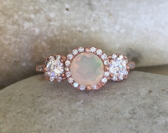 Opal Rose Gold Ring- Opal Bridal Set- Three Stone Anniversary Ring- Opal Promise Ring- Opal Engagement Ring Set- Opal Engagement Wedding Set