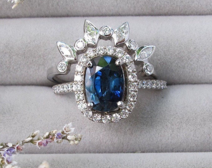 1.71ct Certified Blue Sapphire Engagement 2 Ring Set- Genuine Unheated Oval Sapphire White Gold Ring- Dark Blue Sapphire Ring with Band