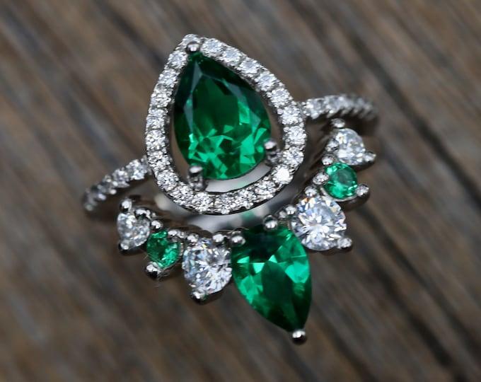 Pear Emerald Bridal Ring Set- Alternate Green Clear Wedding 2 Ring Set- Green Halo Bridal Ring w/ Curved Wedding Band- Emerald and Cz Rings