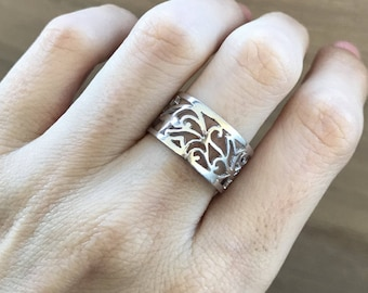 Floral Filigree Wide Band- Woman Scroll Wedding Band- Silhouette Leaf Wedding Band- Edwardian Nature Inspired Wedding Band- Silver Wide Band