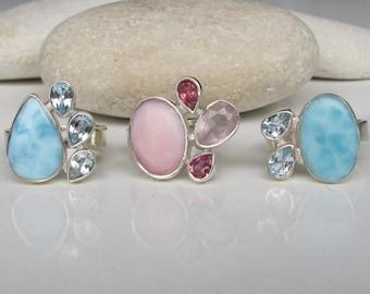 Opal Ring- Rose Quartz Ring- Tourmaline Ring- Blue Topaz Ring- Gemstone Ring- Birthstone Ring- Rose Quartz Ring- October, December Ring