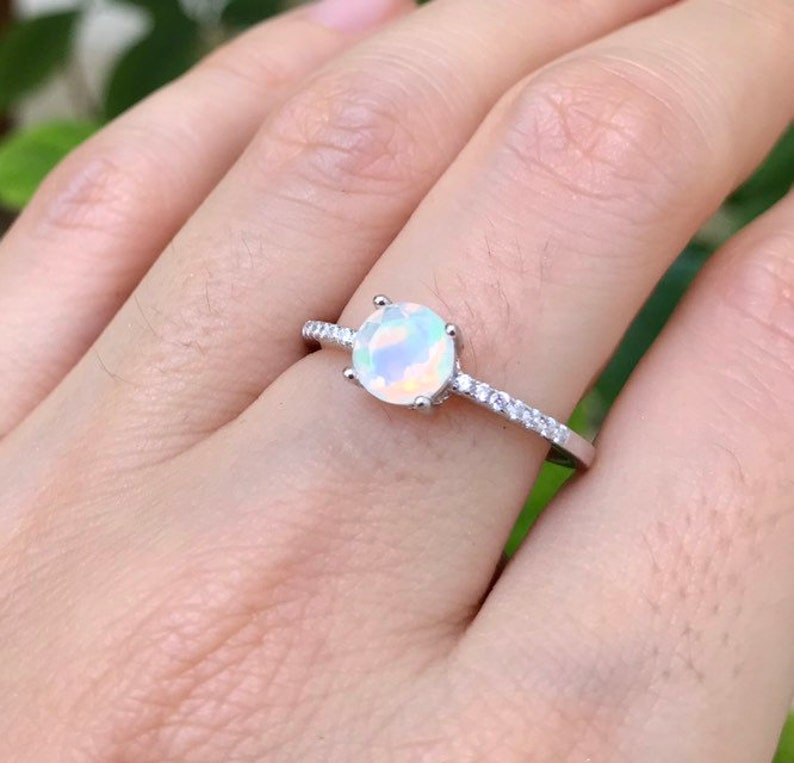 9fb1d7b61960c 4 Prong Opal Promise Ring- Rose Gold Opal Ring- Genuine Opal Round Promise  Ring- Welo Opal Solitaire Ring- Boho Rainbow Ring- October Ring