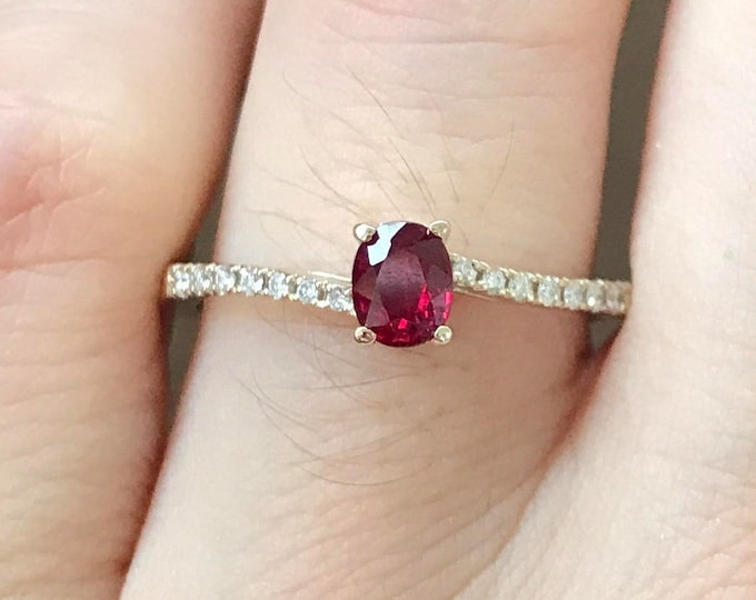 0.38ct Unheat Ruby Genuine Engagement Dainty Ring- Oval Ruby Promise 18k White Gold Petite Ring- Ruby Diamond Anniversary Bypass Ring