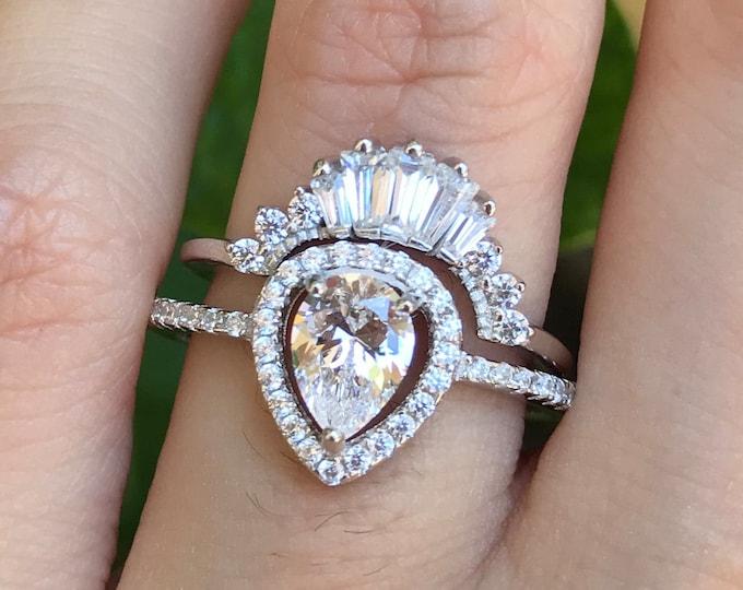 Deco Cubic Zirconia Pear Bridal Ring Set- 2.85ct Teardrop Diamond Simulant Engagement Halo 2 Ring Set- Vintage Colorless Wedding Ring Set