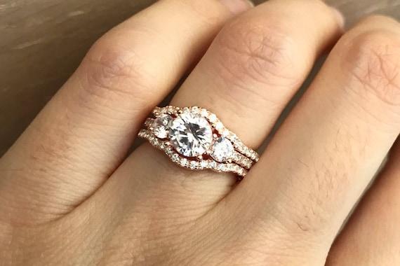 Rose Gold Bridal Set Ring Three Stone Engagement Ring Set