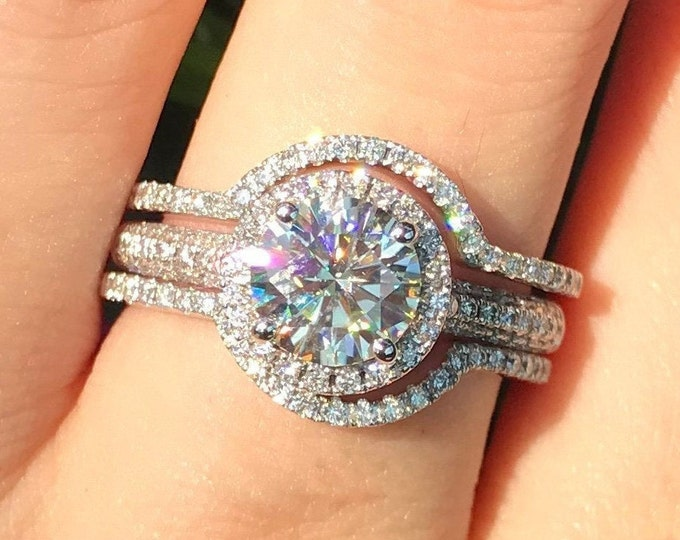 1ct Moissanite Halo Engagement Ring Set- Round Moissanite 3 Piece Bridal Ring Set- Colorless Non Diamond Engagement Ring with 2 Wedding Band